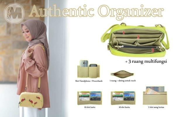 Makara Etnik Produsen Tas Dompet Wanita Indonesia MAO Authentic Organizer Thipe HPO Sling Bag on model Inside
